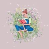 女孩在庭院例证的阅读书 图库摄影
