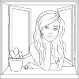 女孩在开窗口里 流行艺术传染媒介 上色,黑白