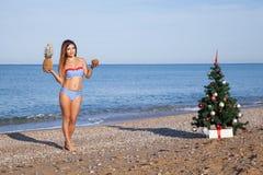 女孩在手段的热带圣诞节和新年 库存图片