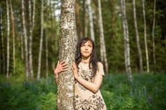女孩在拥抱桦树和看太阳的森林公园 库存照片