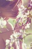 女孩在春天分支附近面对 免版税库存照片