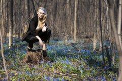 女孩在春天森林 图库摄影