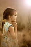 女孩在晚上麦田祈祷 免版税库存照片