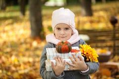 女孩在有书和一点南瓜的秋天公园 免版税图库摄影