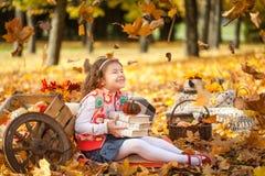 女孩在有书和一点南瓜的秋天公园 库存图片