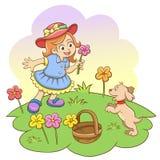 女孩在有她的狗的公园。 向量例证