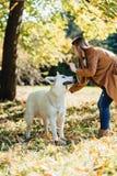 女孩在有幼小白色瑞士牧羊犬的秋天公园走 库存图片