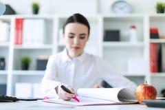 女孩在有文件和标志的办公室 景深,在的一个被突出的焦点的照片 免版税库存照片
