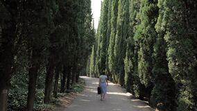 女孩在柏胡同走在第比利斯植物的公园-乔治亚 股票录像
