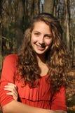 女孩在森林里 图库摄影