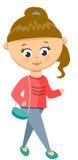 女孩在毛线衣和牛仔裤走 免版税库存图片