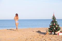 女孩在海滩胜地的圣诞节假期 免版税库存照片