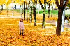 女孩在秋天公园去和哀伤 库存照片