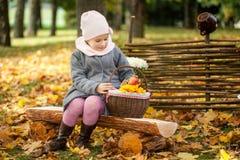 女孩在秋天公园坐一个长木凳在篱芭附近 图库摄影