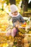 女孩在秋天公园坐一个长木凳在篱芭附近 库存图片