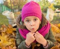 女孩在秋天公园 免版税库存照片