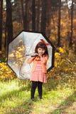 女孩在秋天森林里 库存图片