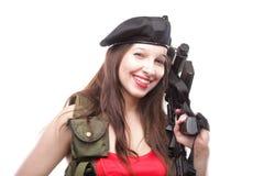 女孩在空白背景islated的藏品步枪 免版税库存图片