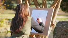 女孩在自然的图画图片 股票录像