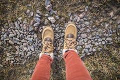 女孩在花岗岩石头站立在草中的在猪圈 免版税图库摄影