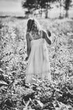 女孩在草甸 免版税库存照片