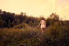 女孩在草甸 库存照片