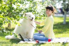 女孩在野餐的一个公园喂养她的狗 免版税图库摄影