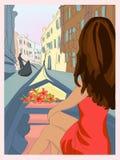女孩在长平底船的威尼斯 免版税图库摄影