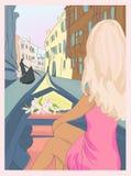 女孩在长平底船的威尼斯 库存图片