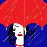 女孩在雨中 免版税库存照片