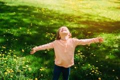 女孩在领域的阳光下 库存图片