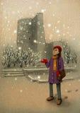 女孩在巴库在手边捉住第一雪 库存例证