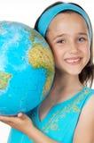 女孩地球世界 免版税库存照片