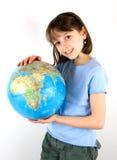 女孩地球藏品 库存照片