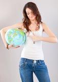 女孩地球 免版税库存照片