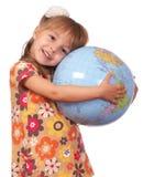 女孩地球 图库摄影