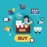 女孩坐前面平的象设计infographic网上购物的步的集合 与购买按钮的电子商务流程 库存图片