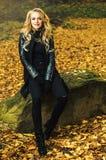 女孩坐室外在秋天风景 库存图片