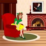 女孩坐扶手椅子 免版税库存图片