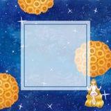 女孩坐摇摆在有星系夜空横幅卡片的向日葵气球下 水彩例证背景 库存照片