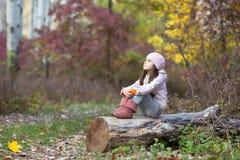 女孩坐注册森林 库存图片