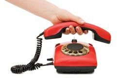 女孩增强电话收货人红色 库存照片