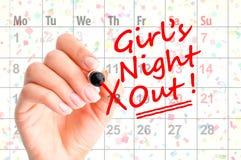 """女孩夜在议程中的â€的一个日期""""提示 库存图片"""
