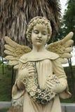 女孩天使雕塑 图库摄影
