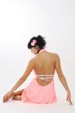 女孩头发她玫瑰色 免版税图库摄影