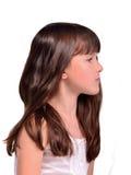 女孩头发少许长的纵向配置文件 库存图片