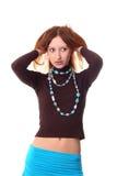 女孩头发接触 免版税图库摄影