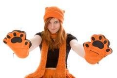 女孩头发的帽子橙红 库存图片
