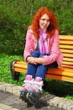 女孩头发的纵向红色 库存图片