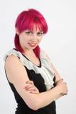 女孩头发粉红色 免版税库存图片